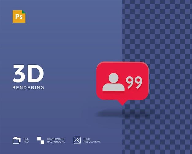 Powiadomienie o ilustracji 3d