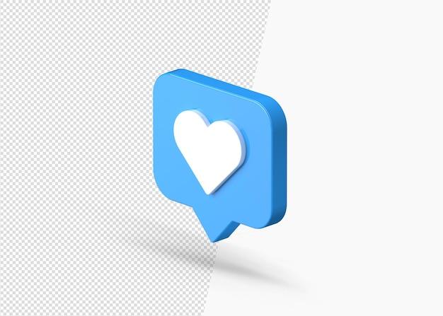 Powiadomienie z mediów społecznościowych miłość jak ikona 3d na białym tle serca