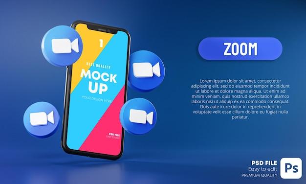 Powiększ ikony wokół aplikacji na smartfony mockup 3d