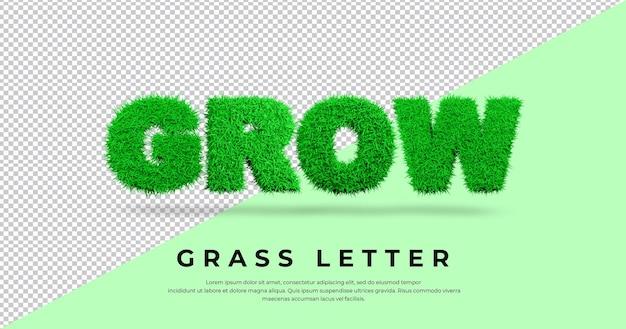 Powiększ tekst z literą trawy w renderowaniu blendera