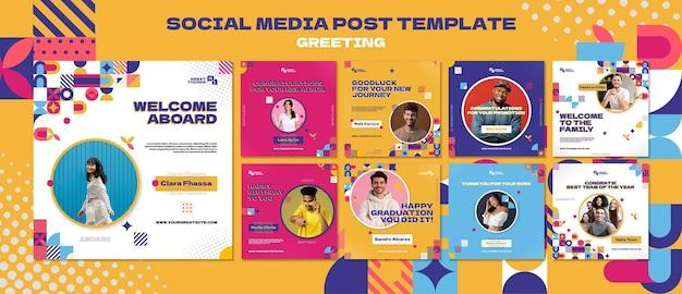 Powitanie szablonu posta w mediach społecznościowych