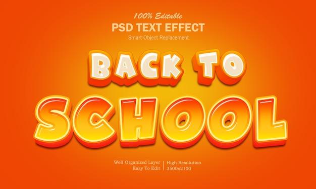Powrót do efektu tekstowego stylu cartoon szkoły