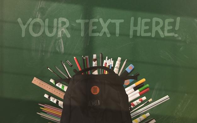 Powrót do szkolnego makiety plecaka i przyborów szkolnych
