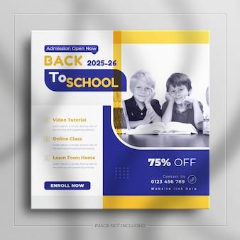 Powrót do szkolnego posta w mediach społecznościowych lub przyjęcia na szablonie kwadratowego banera