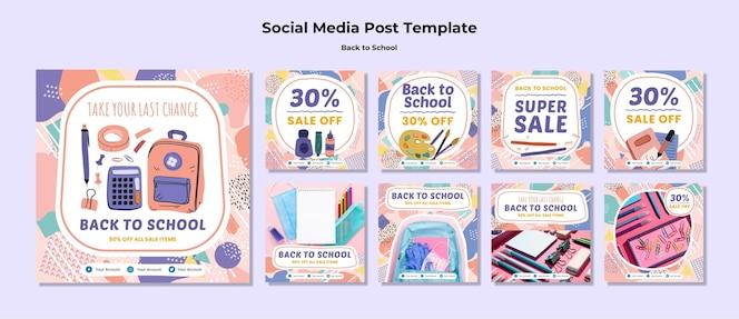 Powrót do szkolnego posta w mediach społecznościowych