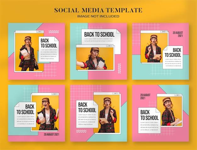 Powrót do szkoły baner społecznościowy i szablon postu na instagramie z estetycznym, komputerowym stylem retro