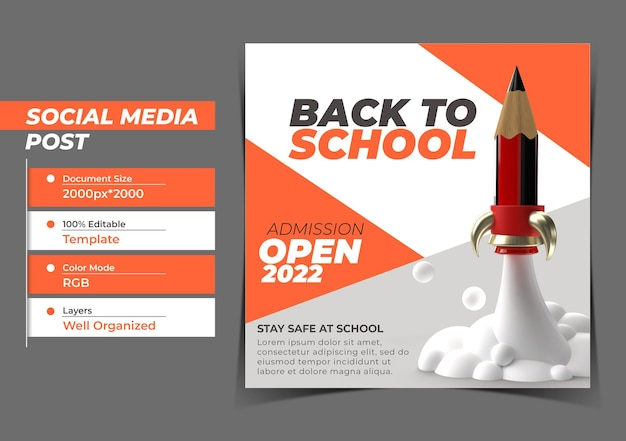 Powrót do szkoły digital marketing instagram post banner szablon.