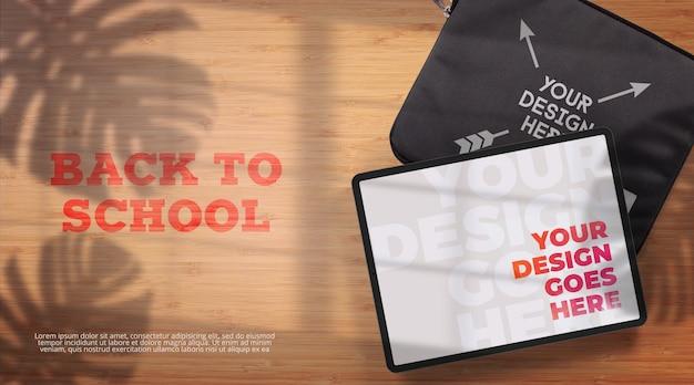 Powrót do szkoły makieta tabletu i etui na tablet. widok z góry
