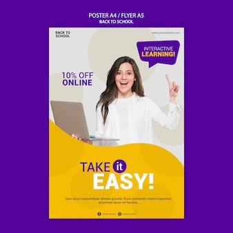 Powrót do szkoły online plakat szablon