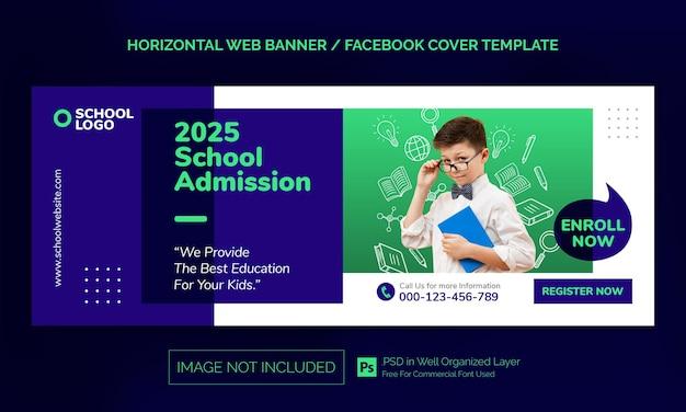 Powrót do szkoły poziomy baner lub szablon reklamowy na okładkę na facebook