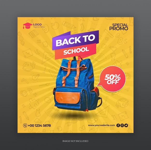 Powrót do szkoły promocja sprzedaży szablonu baneru społecznościowego