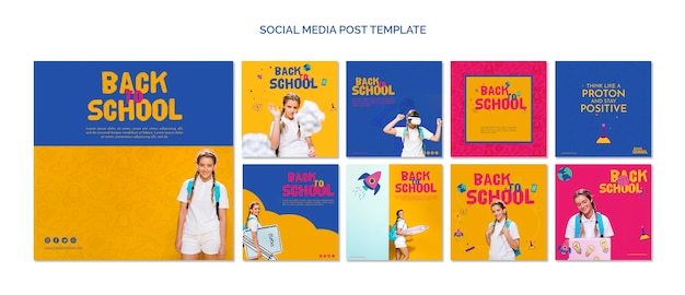 Powrót do szkoły szablon mediów społecznościowych