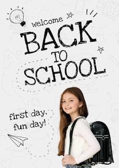 Powrót do szkoły szablon psd z uroczym uczniem