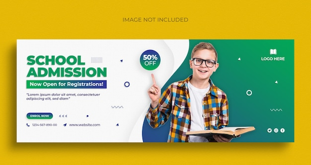 Powrót do szkoły, ulotka z banerami społecznościowymi i szablon projektu zdjęcia w tle na facebooka