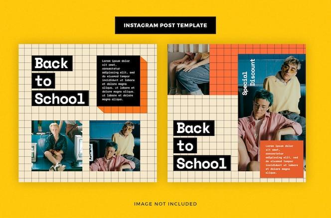 Powrót do szkoły w mediach społecznościowych nowoczesny post na instagramie