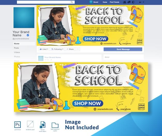 Powrót do szkoły z rabatem szablon okładki mediów społecznościowych