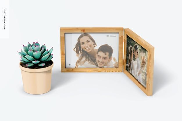 Pozioma podwójna ramka na zdjęcia z makietą rośliny doniczkowej