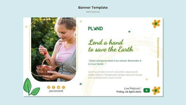 Poziome baner obchody dnia matki ziemi