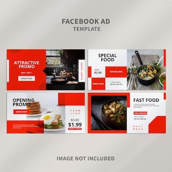 Poziome banery reklamowe na facebooku z czystym designem