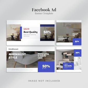 Poziome i kwadratowe banery reklamowe na facebooku o minimalistycznym wyglądzie