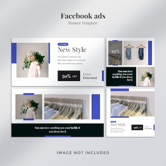 Poziome i kwadratowe banery reklamowe na facebooku z minimalnym szablonem