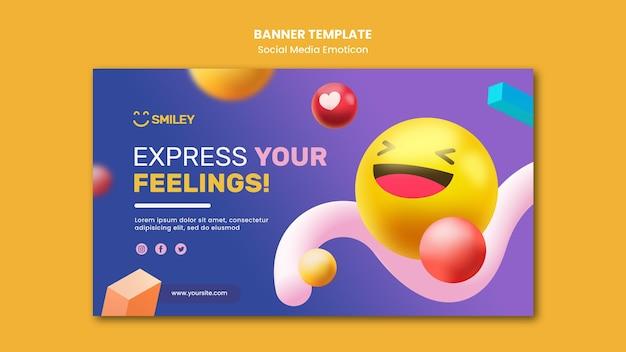 Poziomy baner dla emotikonów aplikacji mediów społecznościowych