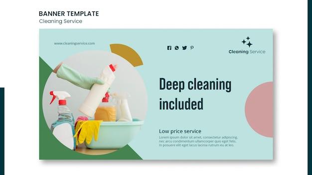 Poziomy baner dla firmy sprzątającej dom