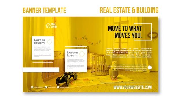Poziomy baner dla nieruchomości i budynków