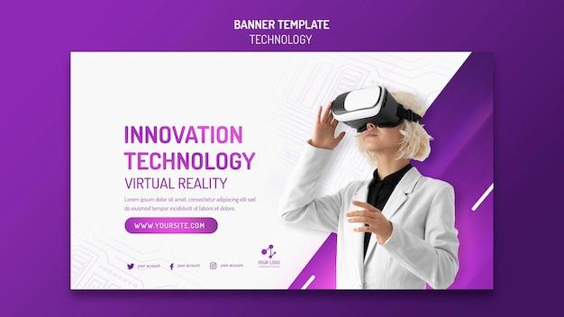 Poziomy baner dla nowoczesnej technologii z zestawem słuchawkowym do wirtualnej rzeczywistości