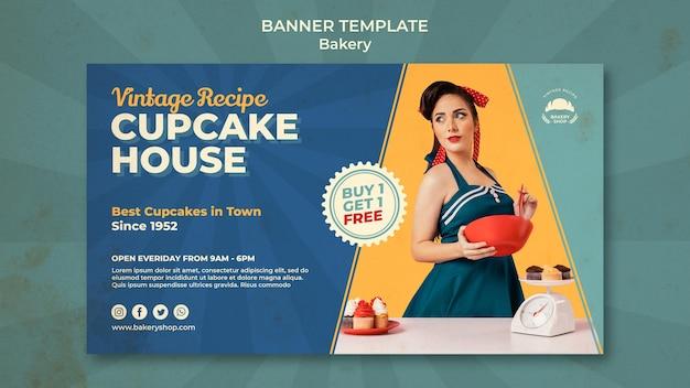 Poziomy baner dla sklepu vintage piekarnia z kobietą
