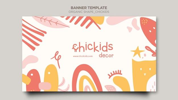 Poziomy baner dla sklepu z wystrojem wnętrz dla dzieci