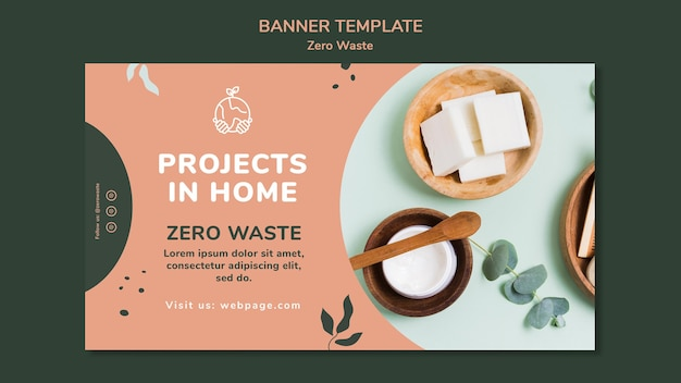 Poziomy baner dla stylu życia zero waste