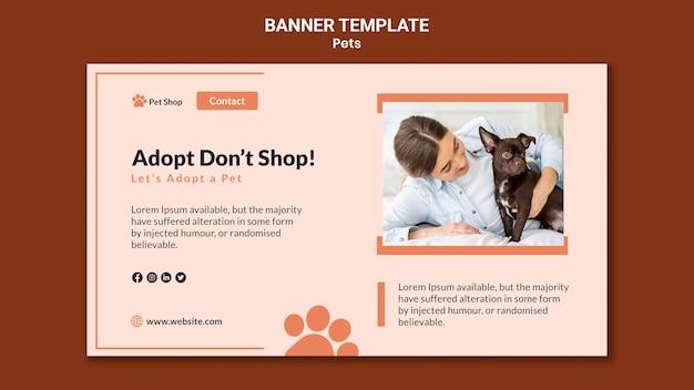 Poziomy baner do adopcji zwierząt domowych