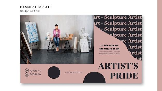 Poziomy baner do pracowni rzeźby