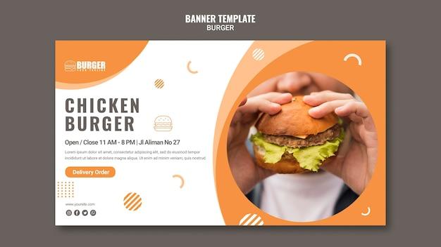 Poziomy baner do restauracji z burgerami