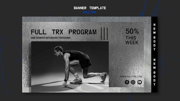 Poziomy baner do treningu trx z sportowcem