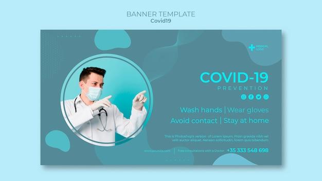 Poziomy baner do zapobiegania koronawirusom