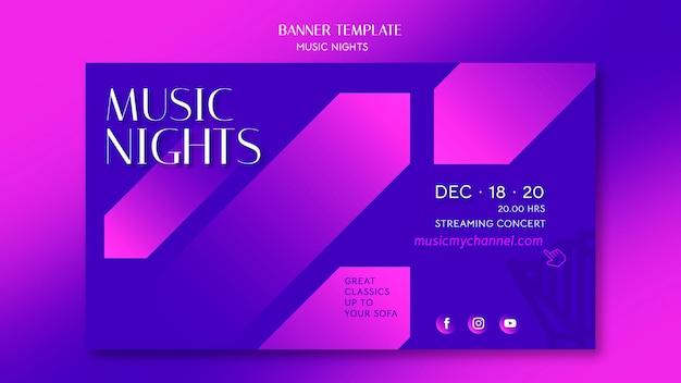 Poziomy baner gradientowy szablon na festiwal nocy muzycznych