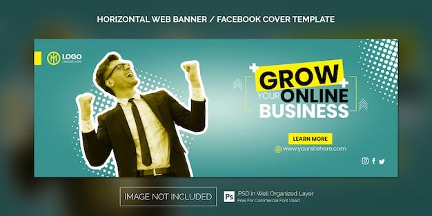 Poziomy baner internetowy dla szablonu okładki na facebooka lub reklamy biznesowej online