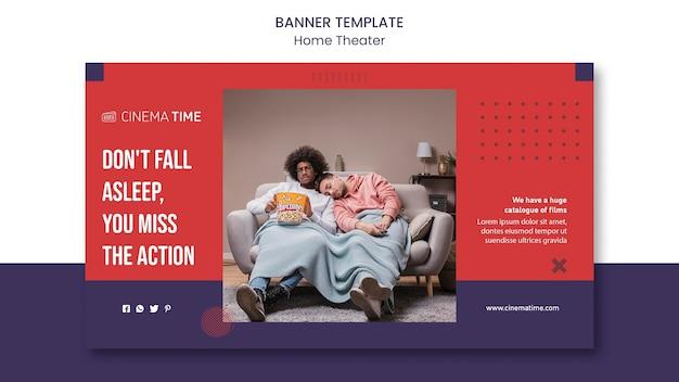 Poziomy baner kina domowego ze zdjęciem