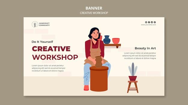 Poziomy baner kreatywnych warsztatów