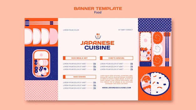 Poziomy baner kuchni japońskiej