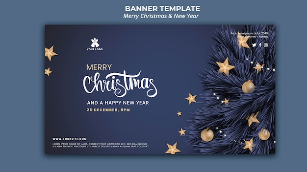 Poziomy baner na boże narodzenie i nowy rok