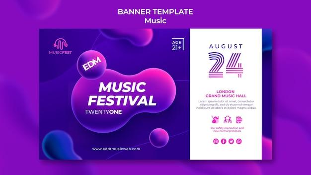 Poziomy baner na festiwal muzyki elektronicznej z neonowymi kształtami płynnymi liquid
