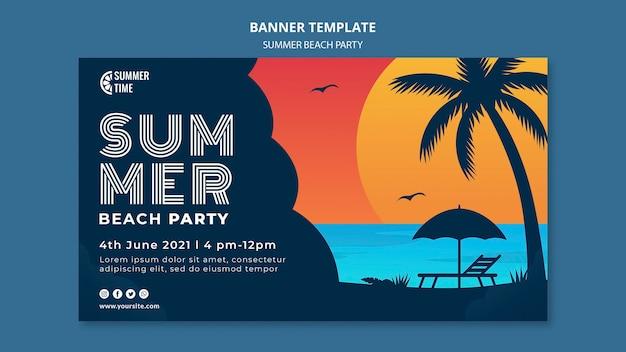 Poziomy baner na letnie przyjęcie na plaży