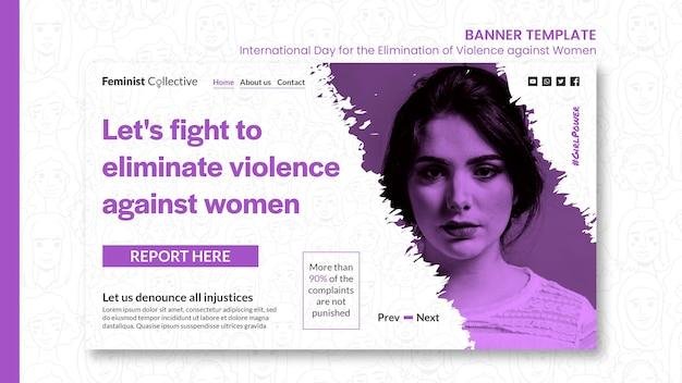 Poziomy baner na międzynarodowy dzień eliminacji przemocy wobec kobiet