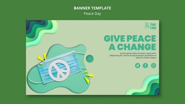 Poziomy baner na międzynarodowy dzień pokoju