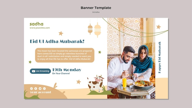 Poziomy baner na obchody eid al-adha