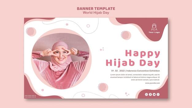 Poziomy baner na obchody światowego dnia hidżabu