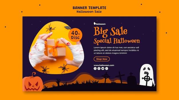 Poziomy baner na sprzedaż halloween